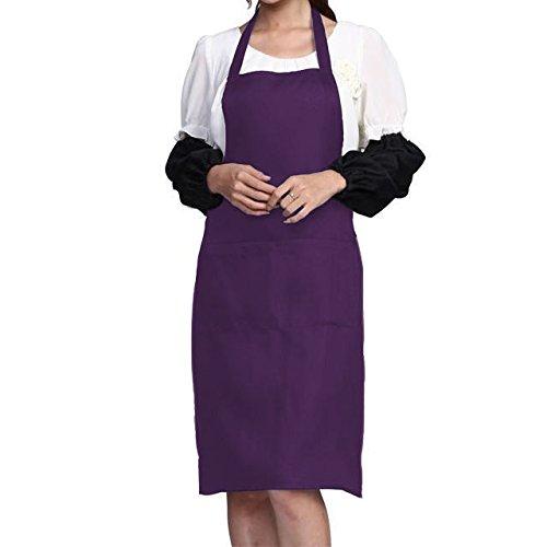 Womens Plain Apron with Front Pocket for Chefs Butchers Kitchen Cooking Craft Baking 6 Colors (Front Uniform Plain)