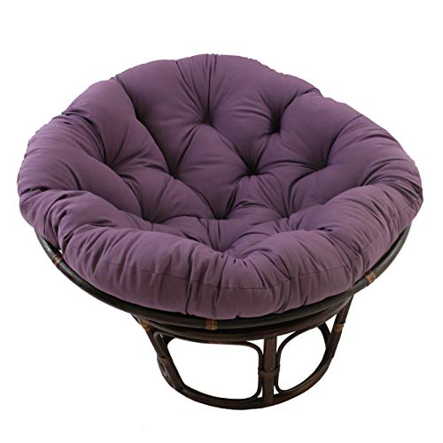 MISC 52 Inch Grape Purple Papasan Cushion Only Cotton Rounded Tufted Oversized Chair Pad Floor Pillow Use Plush Indoor Thick Comfy Solid Color, Polyester (Oversized Wicker Papasan Chair)