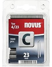 Novus Smalle rugklemmen 23 mm, 1100 klemmen van type C4/23, nietmiddelen voor profielhout, panelen en houtvezelplaten