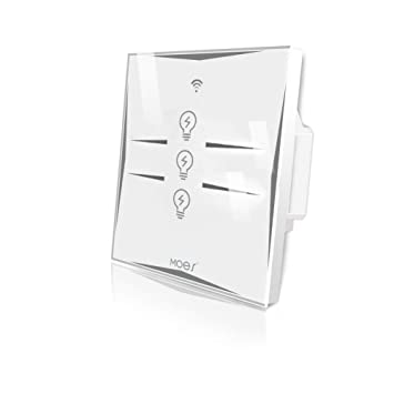 MOES UK WiFi Smart Wall Light Switch 3 Gang Glass Panel,Smart Life/Tuya APP  Remote Control from Anywhere,Compatible with Alexa Echo Google Home,No hub