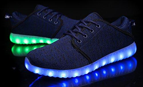 Mohem Shinynight Hög Topp Ledde Skor Lyser Usb-laddning Blinkande Sneakers Blue018