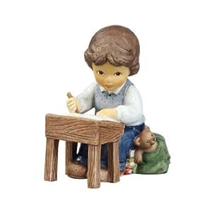 Goebel 11734084 Nina & Marco - Figura decorativa (porcelana, altura de 8cm), diseño de niño estudiando