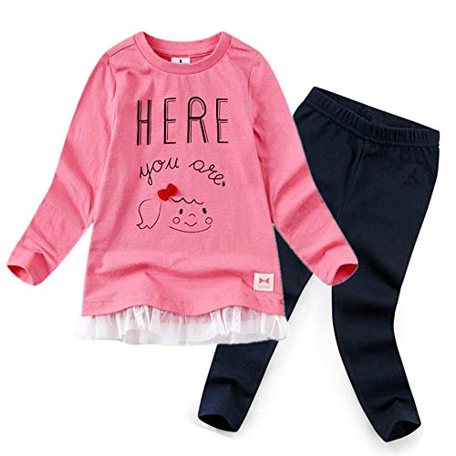 CuteMe Cute Baby Girls Long Sleeve Cartoon Lace Tutu Top and Pants Clothes Sets 2pcs Fall Winter Outfits Clothes(TZ005,Pink,100)