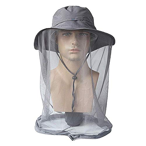 Lixada Mosquito Head Net Hat,Safari Hat Sun Hat Bucket Hat with Hidden Net Mesh Protection from Insect Bug Bee Mosquito Gnats for Outdoor Fishing Garden Hiking Travel