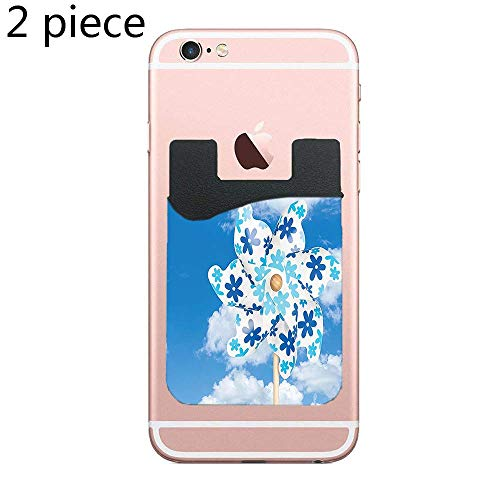 Cusomcardphone Phone Card Holder Adhesive Stick-on Credit Card Wallet Phone Case Pouch Sleeve Pocket for Most of Smartphones(iPhone/Android/Samsung Galaxy) - (Pinwheel Cloudy Sky Landscape Nature 2pc) ()