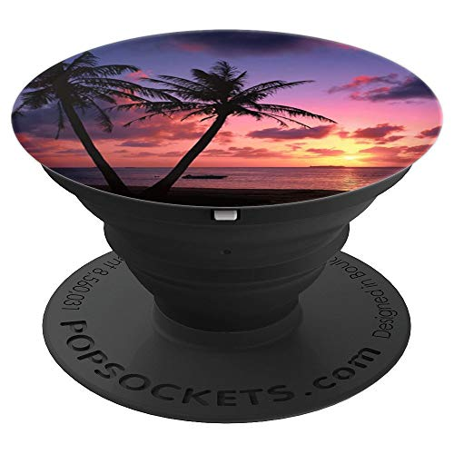 Jame's Designs: Tropical Palm Trees Beach Sunset PopSocket - PopSockets Grip and Stand for Phones and Tablets ()