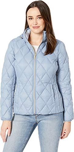 Michael Michael Kors Women's Quilted Nylon Packable Down Jacket M823965M Chambray X-Small