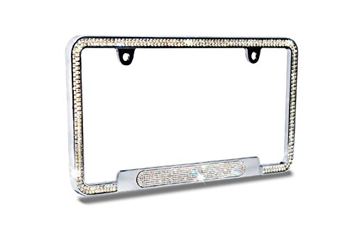 JR2 Premium Shinning Glass Crystals Durable Chrome Metal License Plate Frame(Oval Shiny Crystal Design)+Free Caps (White)