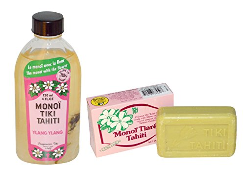 Soap Ylang Bar Ylang Coconut (Monoi Tiki Tahiti Ylang Ylang and Monoi Tiare Tahiti Ylang Ylang Soap Bar Bundle With Tiare Flowers and Coconut Oil, 4 fl. oz. and 4.55 oz)