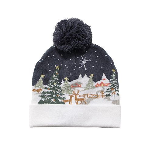 Cozy Winter Christmas Theme Hat - Reindeer Snow - Light up LED Holiday Hat - Cute Ugly Sweater Novelty Xmax Beanie Gift Hat]()