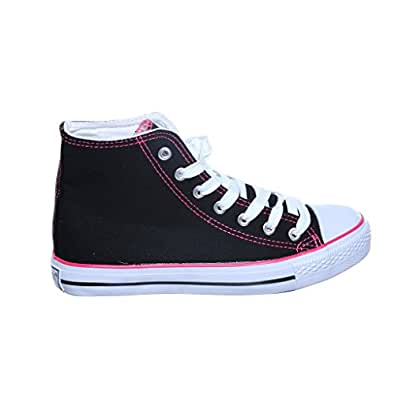 NEW STYLE!! High Top Canvas Women Sneakers (5, black/fuchsiaX) [Apparel]