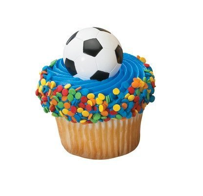 24 Count Cup Cake Topper Cup Cake Picks Soccer Ball