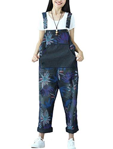 Fiori A Scuro 4 Stile Salopette Vogstyle Blu Jeans Pantaloni Donna F1xqIXTg