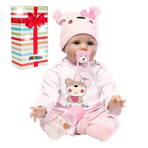 JOYMOR Reborn Baby Doll 22 Inch Lifelike Realistic Vivid Real Looking Dolls Silicone Vinyl Child Growth Partner Washable Soft Body Lovely Simulation Fashion Xmas Present Birthday Gift
