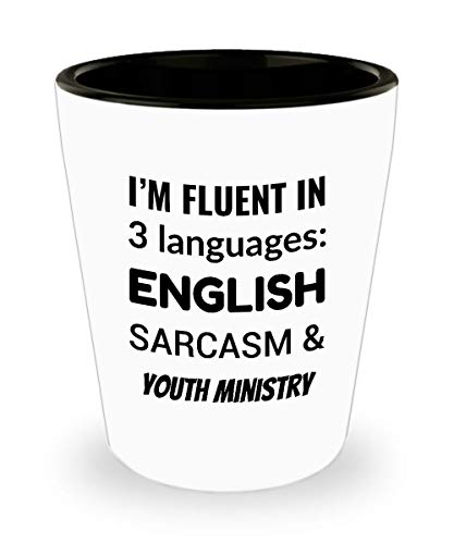 YOUTH MINISTER Shot Glass - I'm Fluent In 3 Languages - English Sarcasm and Youth Ministry ()