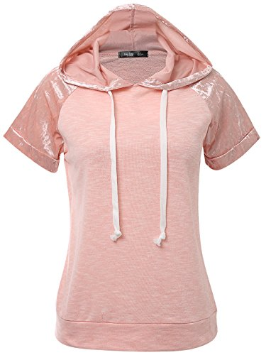 JayJay Women Casual Athleisure Velvet Contrast Color Short Sleeve Pullover Hoodie Sweater Shirt,Pink,S