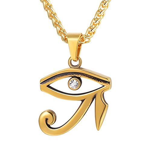 U7 CZ Eye of Horus Necklace Vintage Egyptian Protection Pendant, Stainless Steel Chain 22 Inch (Gold)