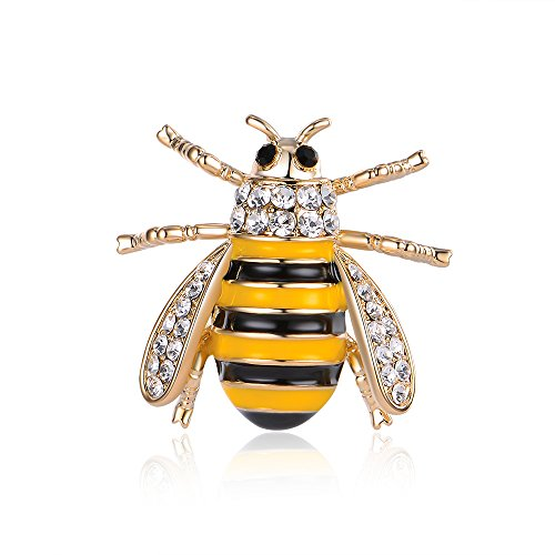 Nouveau Art Pin Brooch (Mytys Fashion Jewelry Womens Brooch Pin Little Bee Rhinestone Enamel Pins)