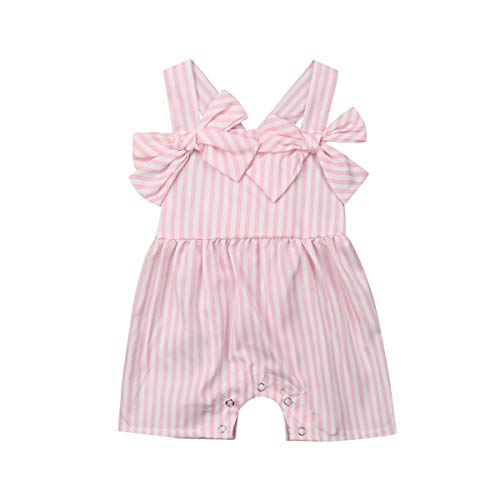 Newborn Baby Girls Sleeveless Pink White Stripe Bow Halter Romper Jumpsuit Trousers Outfits (Stripe, 100(1-2 T))