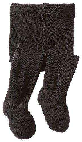 Jefferies Socks Baby-girls Infant Seamless Organic Cotton Tights, Black, 6-18 Months