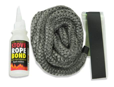 12mm x 2.5m PD Black Rope and 50ml Adhesive / Glue for Woodburner Stove Oven Door Glass Gallery