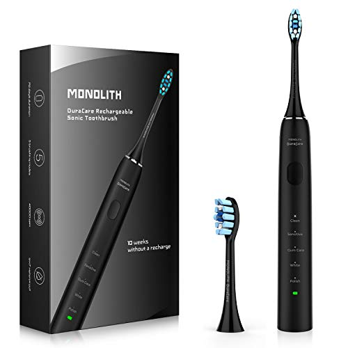 Strong Plaque Control Rechargeable Toothbrush, 40,000 VPM Ultra Sonic for Deep Clean, 5 Modes, 2 Diamond Replacement Brush Heads, Smart Timer and Memory Function