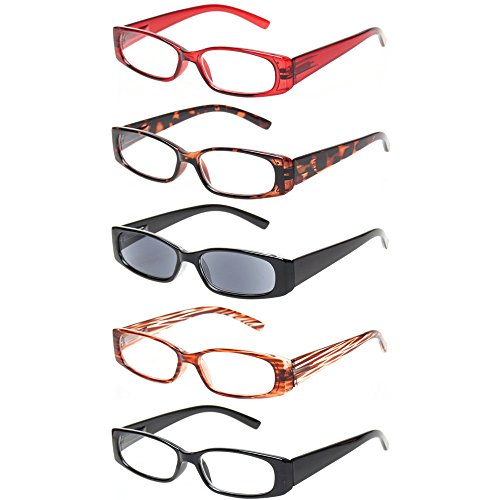 Reading Glasses 5 Pack Great Value Quality Readers Spring Hinge Plastic Glasses for Reading (5 Mix Color, - Home Glasses At Try