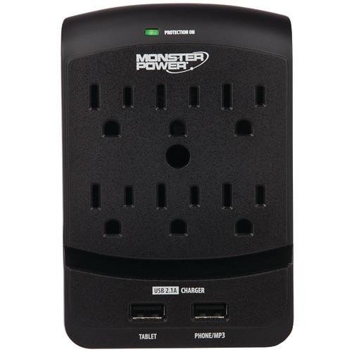 6 Outlet Extreme Power 650 USB Wall Tap