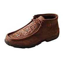 Twisted X Women's Chukka Leather Driving Moccasins, Brown/Tooled Flowers, 8 Medium