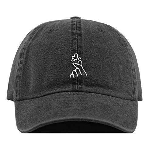 (Korean Heart Baseball Hat, Embroidered Dad Cap, Unstructured Soft Cotton, Adjustable Strap Back (Multiple Colors) (Pigment Black))