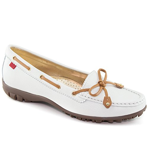 Marc Joseph New York Women's Fashion Shoes Cypress Luxury White Grainy Tie Bow Moccassin Size 9.5