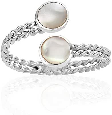925 Sterling Silver Wrap Around Twisted Thin Rope Round Shell or Mother of Pearl Adjustable Ring 6-9