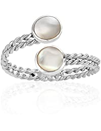 925 Sterling Silver Twin Rope & Abalone Shell or Mother of Pearl Wrap Around Adjustable Ring, 6 - 9
