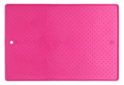 Dexas Popware For Pets Grippmat for Pet Bowls Pink 13 by 19 inches