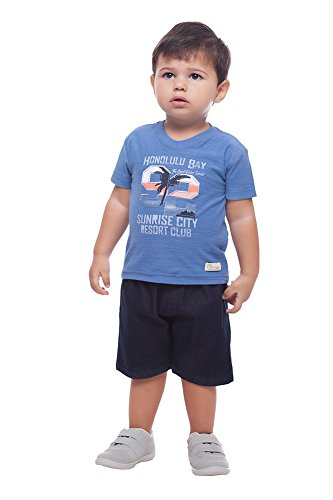Blue Aquamarine Brazil (Baby Boy Outfit Graphic Tee T-Shirt and Shorts Set 6-9 Months - Blue Bravado)