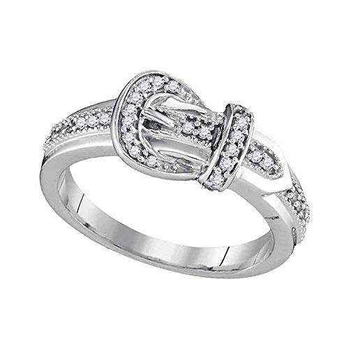 FB Jewels 10kt White Gold Womens Round Diamond Belt Buckle Band Ring 1/5 Cttw (I2-I3 clarity; J-K color)
