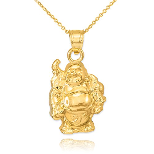 10k Yellow Gold Lucky Charm Laughing Buddha Pendant Necklace, 16