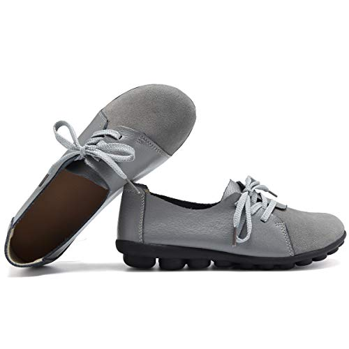 KEESKY Cute Flats for Women Size 7.5 Lace Up Slip on Comfortable Leather Work Shoes Grey