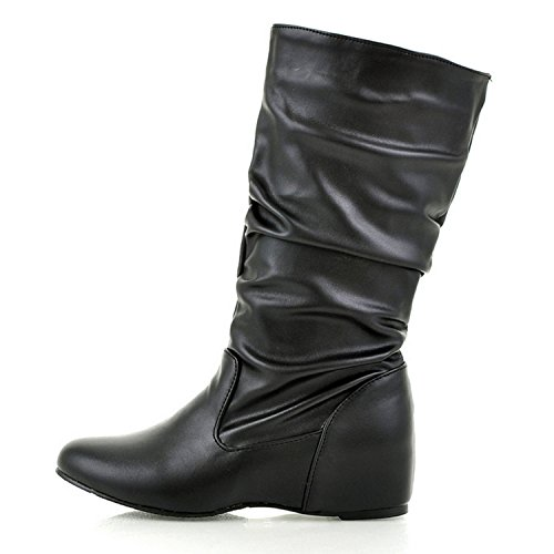 Nonbrand Women's Bow mid calf boots wedge heels booties large size shoes Black YBxDH