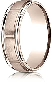 Benchmark 14k Rose Gold 7mm Comfort-Fit Satin-Finish 8 Center Cuts and Round Edge Band, Size 10.75