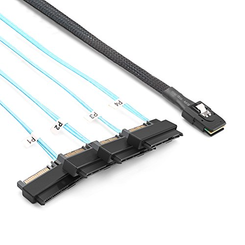 UGREEN Serial Attached SCSI SAS Cable - SFF-8087 to 4 SFF-8482 SAS Drive Cable, Internal HD Mini SAS SFF-8087 Host to 4 SATA 15+7 Target Hard Disk 6Gbps Data Server (Connect Scsi Drive)