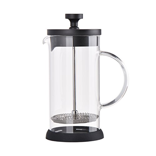French Press Coffee & Tea Makers 2 Cup (0.35 liter, 12 oz) 304 Grade Stainless Steel, Heat Resistant Borosilicate Glass Pure