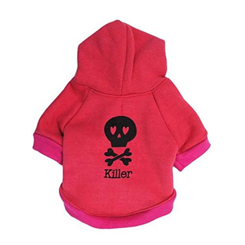FAPIZI Halloween Fleece Black Skeleton Pet Dog Puppy Clothes with Hood Sweater Coat (M, Hot PInk) ()