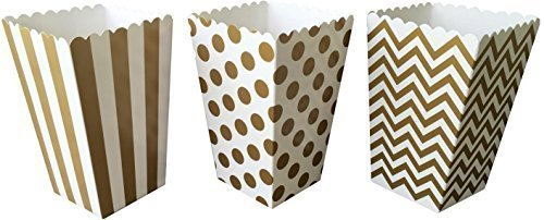 Outside the Box Papers Gold Chevron, Stripe and Polka Dot Paper Popcorn Boxes - 36 Count Gold, White - White Gold Popcorn