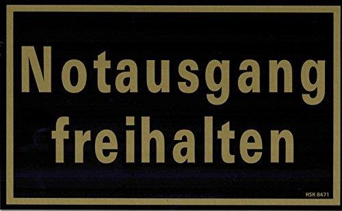 PST-SCHILD mit Aufdruck - Notausgang freihalten - Gr. ca. 25cm x 15cm (308471 schwarz) Kunststoffschild Hinweisschild
