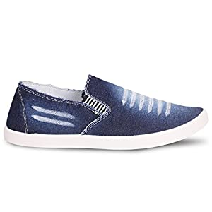 Chevit Men's Combo Denim Blue Combo Casual Shoes (Loafers & Sneakers) Combo Pack of 2