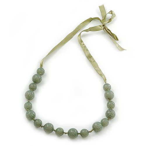 Avalaya Long Round Pale Green Resin 'Cracked Effect' Bead Necklace With Silk Ribbon - Adjustable awCQSR