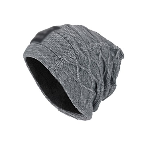 más Cómodo Diseño Gris Hombre Sombreros Espesado Gorro YiJee Punto Suelto Suave de Vellosidades 6FpIEAqxw