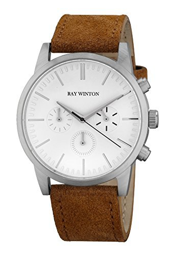 Ray Winton Men's Chronograph White Dial Polished Stainless Steel Case Brown Suede Leather Strap Watch (Polished White Dial)