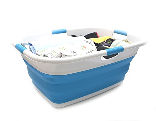 SAMMART Collapsible 4 Handled Laundry Basket - Foldable Storage Container/Organizer - Portable Washing Bin - Space Saving Hamper - Pet Bath Tub (1 pc - Rectangular, Sky Blue)